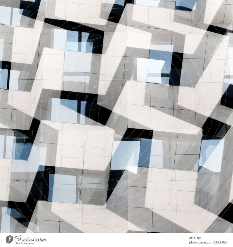 Fassade Lifestyle Stil Design Haus Kunst Fenster Linie außergewöhnlich Coolness eckig trendy einzigartig modern verrückt komplex Perspektive Surrealismus