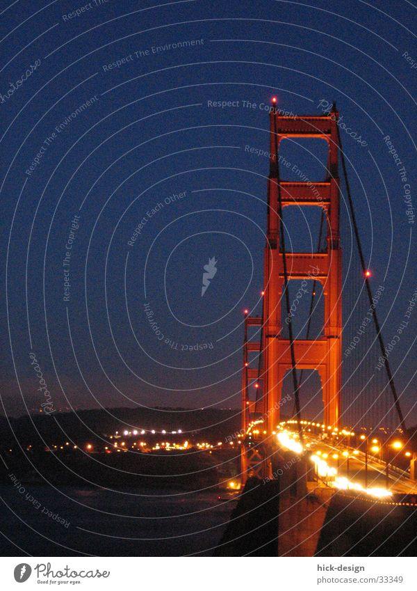 night on golden gate Wasser PKW Brücke USA San Francisco Golden Gate Bridge