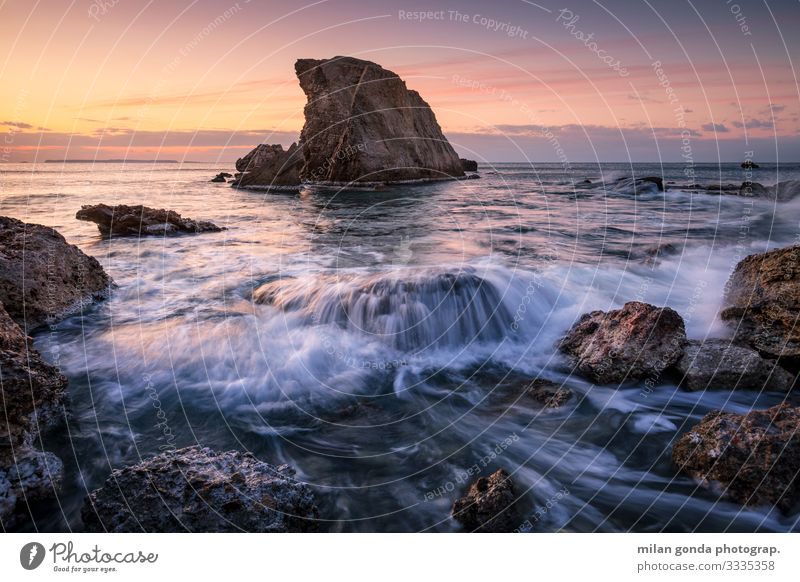 Kreta. Strand Meer Natur Felsen Küste Stimmung Europa mediterran Griechenland Crete Lasithi Kalo Nero Meereslandschaft Seeschornstein Morgen Sonnenaufgang