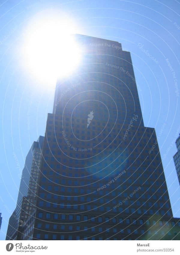 NYC Himmel Sonne Hochhaus USA New York City blenden Nordamerika