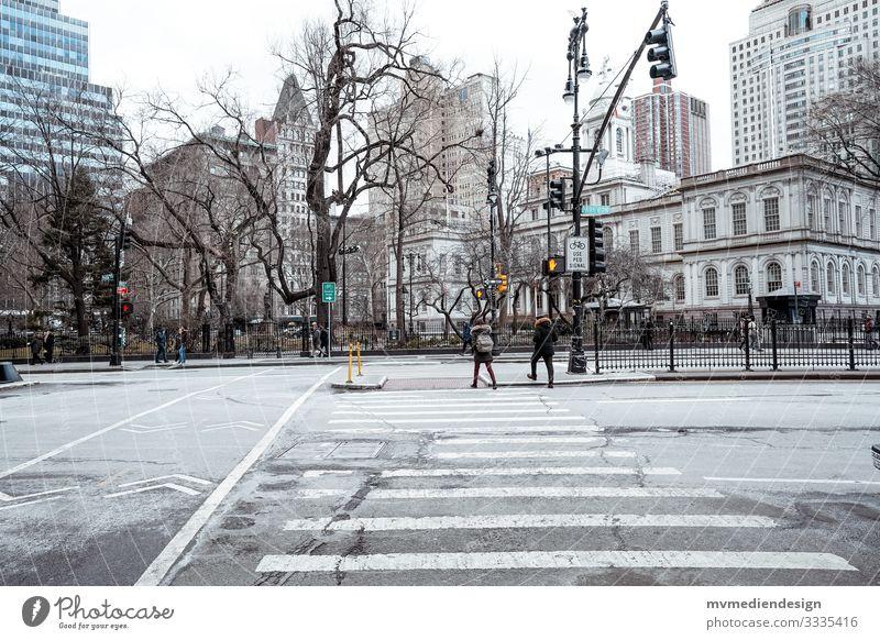 In den Straßen von New York New York City Straßenkreuzung Brooklyn Bridge Tourismus erkunden USA Ampel Straßenschilder Zebrastreifen Häuser Amerikanisch