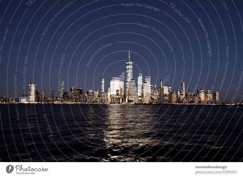 New York City Skyline at Night Nacht Manhattan lichter Hudson River
