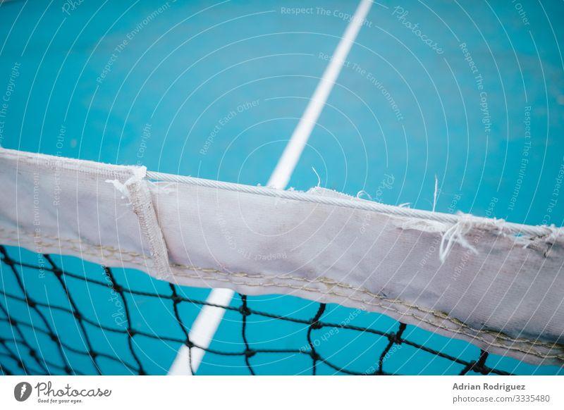 Blaues Tennisnetz mit klassischem Design Freude Erholung Spielen Tapete Club Disco Sport Erfolg Seil Linie berühren Fitness Konkurrenz verlieren Netz