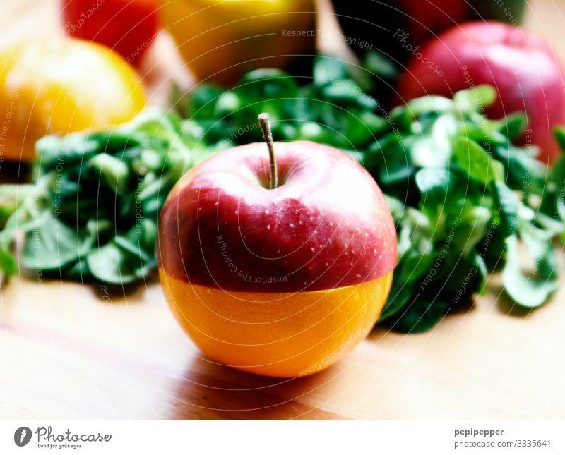 ApfelSine Lebensmittel Salat Salatbeilage Frucht Orange Ernährung Essen Frühstück Picknick Bioprodukte Vegetarische Ernährung Diät grün rot Farbfoto