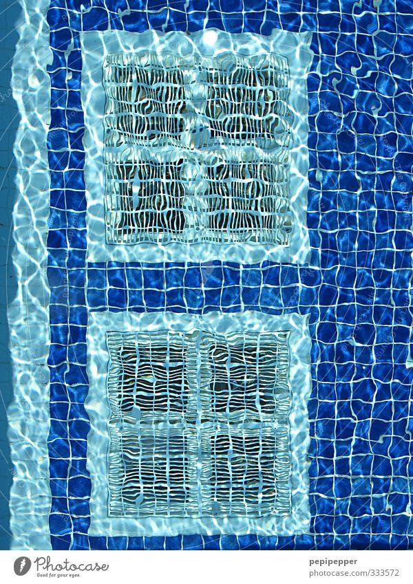 Sommer Urinal Freizeit & Hobby Ferien & Urlaub & Reisen Wellen Schwimmen & Baden Schwimmbad Wasser Ornament Linie Streifen blau mehrfarbig Außenaufnahme