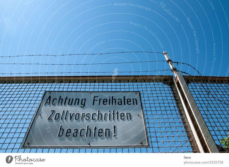 Achtung l geschriebenes Wege & Pfade Schriftzeichen Ordnung Schilder & Markierungen Hinweisschild Hamburg Zeichen Ziffern & Zahlen Güterverkehr & Logistik Zaun
