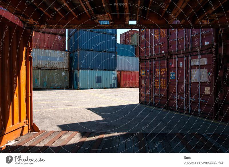 Logistik Handel Güterverkehr & Logistik Dienstleistungsgewerbe Wege & Pfade Schifffahrt Container Kerze Metall stagnierend Wunsch Hamburger Hafen Stapel