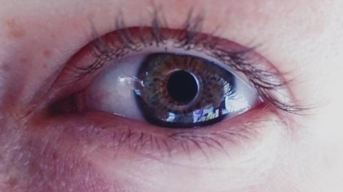 Auge, Wimpern , mit Spiegelung Porträt Farbfoto Natur schön wunderschön Tag Lifestyle feminin charmant Stil
