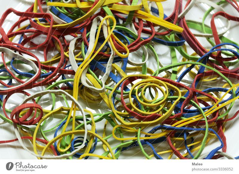Elastische bunte Gummibänder elastisch mehrfarbig Gummiband Schnur Büro blau grün rot Farbe Dinge Hintergrundbild Strukturen & Formen Haufen gelb hell