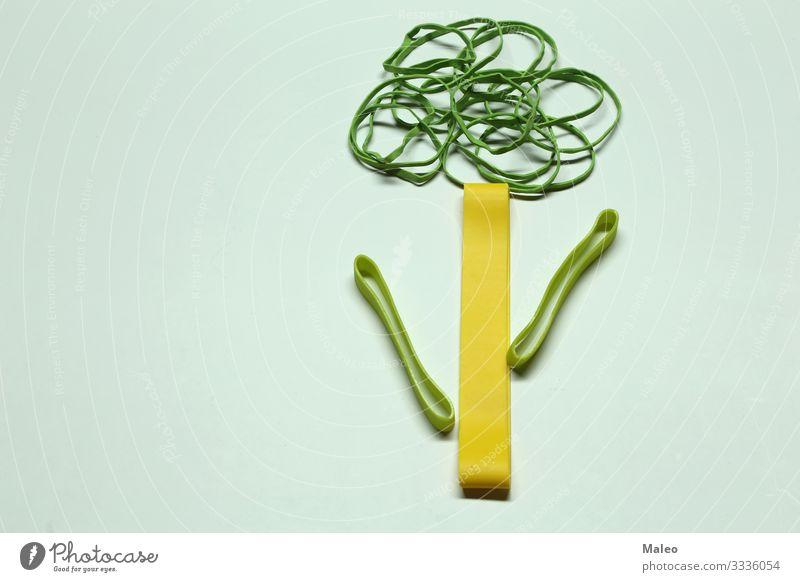 Grüner Baum aus farbigen Gummibändern elastisch mehrfarbig Gummiband Schnur Büro grün Farbe Dinge Hintergrundbild Strukturen & Formen gelb hell