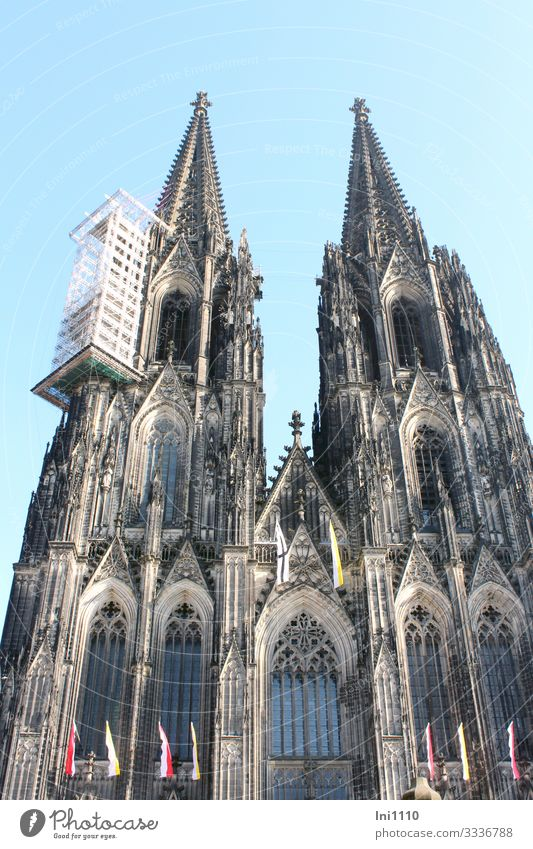 Kölner Dom mit Käfig Baugerüst Städtereise Stadtzentrum Kirche Sehenswürdigkeit Denkmal Stein Stahl außergewöhnlich Bekanntheit eckig fantastisch gigantisch