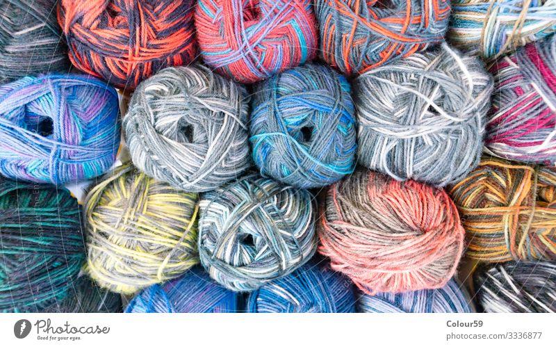 Bunte Wolle Freizeit & Hobby Winter mehrfarbig handarbeit wolle garn gestapelt bunt meliert wollknäuel aufgewickelt stricken strickgarn häkeln Farbfoto