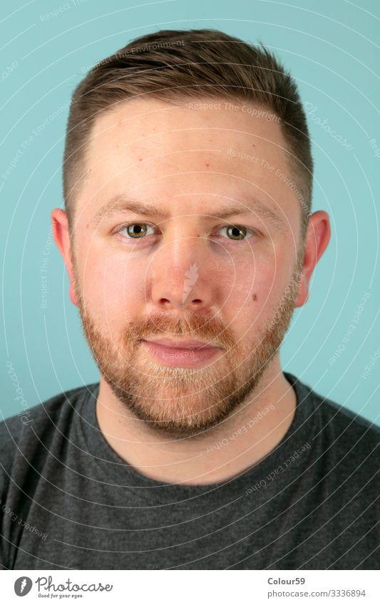 Portrait von jungem Mann Mensch maskulin Gesicht 1 beobachten positiv portrait mann vollbart leger schön schauen augen Farbfoto Studioaufnahme