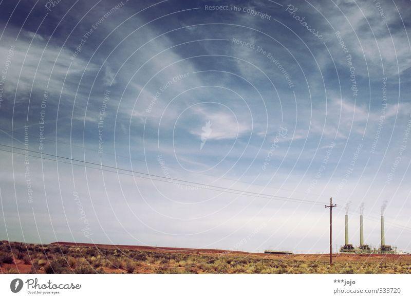 wüste dreieinigkeit. Energiewirtschaft Elektrizität Industrie USA Wüste trocken Fabrik Bauwerk Strommast Surrealismus Schornstein Klimawandel Industrieanlage