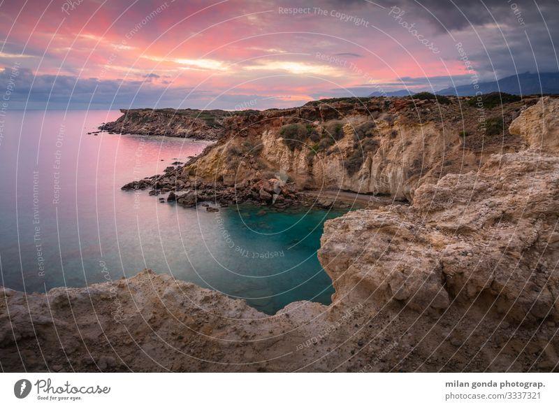 Kreta. Meer Berge u. Gebirge Natur Landschaft Küste Stimmung Europa mediterran Griechenland Crete Lasithi Kalo Nero Klippe Sonnenuntergang Abend