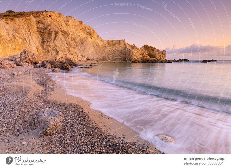 Natur Landschaft Meer Strand Berge u. Gebirge Küste Felsen Stimmung Europa Gelassenheit Griechenland Klippe