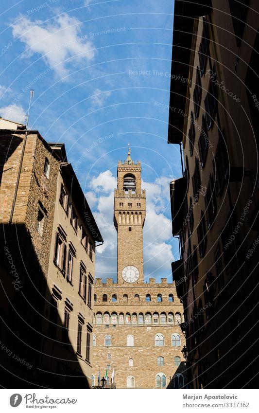 Straßenansicht des Palazzo Vecchio in Florenz, Italien Ferien & Urlaub & Reisen Tourismus Sightseeing Städtereise Architektur Toskana Europa Stadt Stadtzentrum