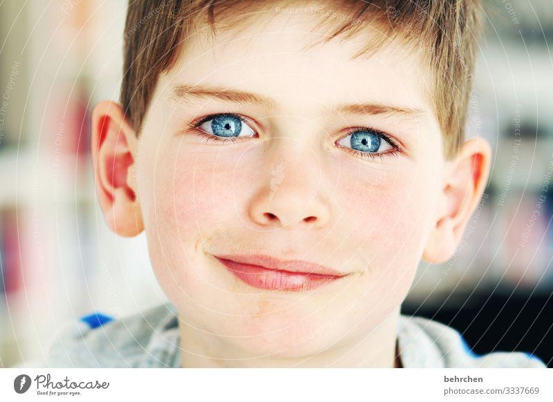 augen tief und klar. zum versinken wunderbar. berühren mein herz. fröhlich Glück Sohn Lächeln lachen Liebe Kontrast Familie & Verwandtschaft Porträt Sonnenlicht