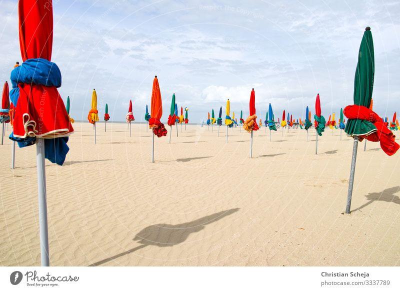 Red and Green Ferien & Urlaub & Reisen Tourismus Sommer Sommerurlaub Sonne Sonnenbad Strand Meer Erholung Sonnenschirm Schönes Wetter Küste Normandie Deauville