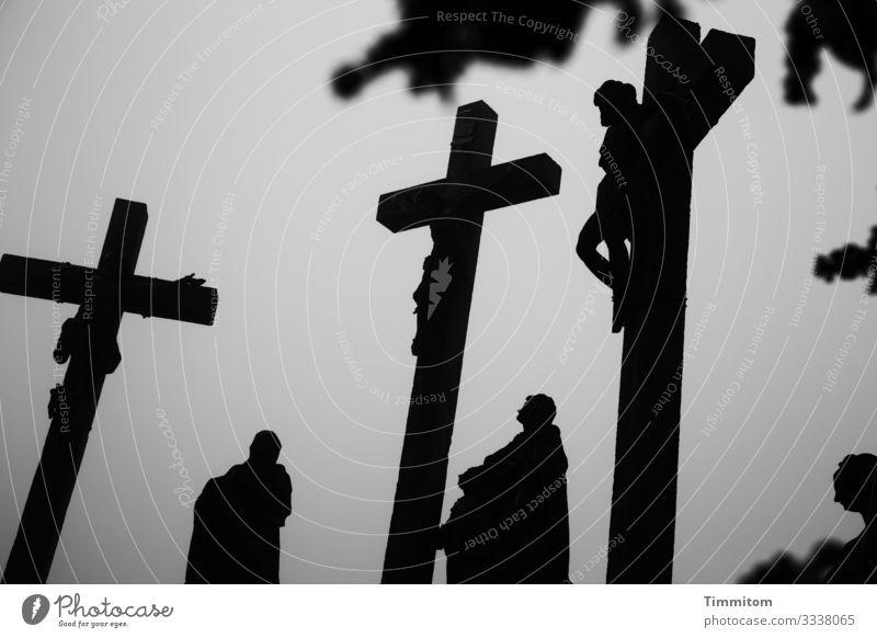 Kreuzigungsgruppe im Winter Karfreitag Religion & Glaube Tod Schwarzweißfoto Trauer Hoffnung Christentum Ostern düster Pflanzenteile Nebel