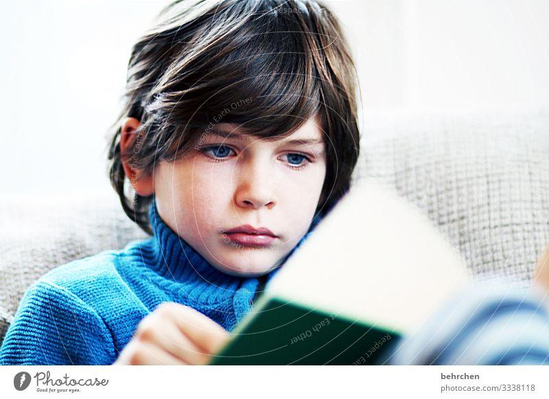 druckerzeugnis | wir lieben bücher!!! aufmerksam Wissen konzentriert Kind vertieft Kindheit Junge Farbfoto lesen Buch lernen Bildung Kindererziehung Literatur