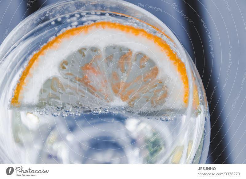 Zitronenscheibe in einem Glas mit Wasser Lebensmittel Frucht Ernährung Getränk trinken Erfrischungsgetränk Trinkwasser Limonade Wasserglas Flüssigkeit kalt
