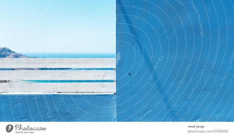 Summer tiles Ferien & Urlaub & Reisen Tourismus Wolkenloser Himmel Sommer Küste Meer Mittelmeer Mauer Wand Fassade Balkon ästhetisch maritim blau weiß Fernweh