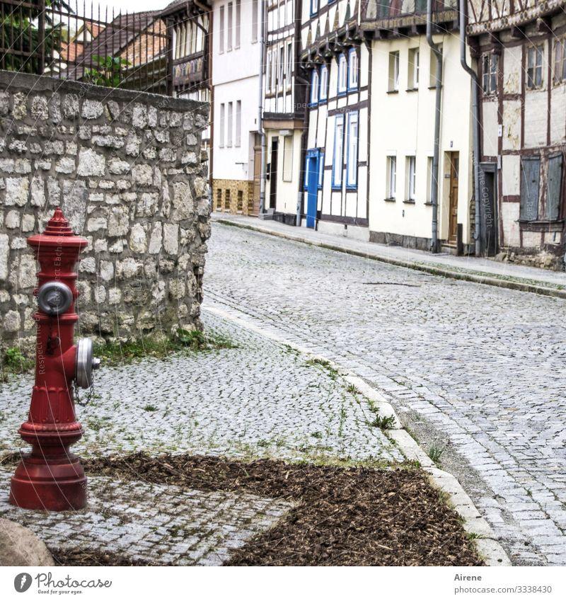 moderate Farbgebung Sachsen-Anhalt Kleinstadt Stadt blau grau rot Idylle Hydrant Fachwerkfassade Häuserzeile Kopfsteinpflaster Historische Bauten historisch