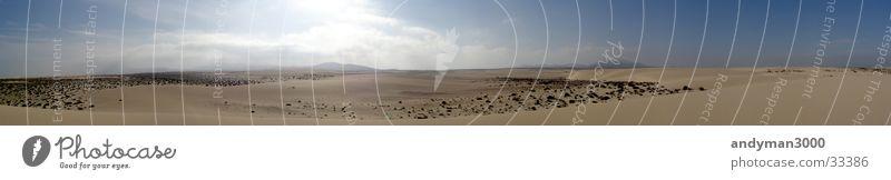 Panoram El Jable Sonne Einsamkeit Ferne Wärme Sand groß Wüste Physik heiß Stranddüne Panorama (Bildformat) Fuerteventura