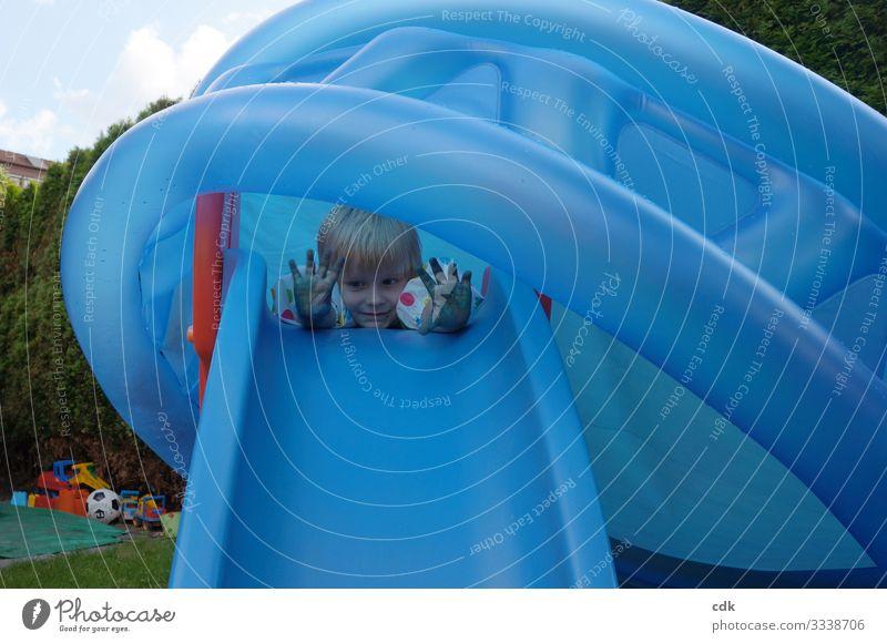 Blaupause maskulin Kind Kindheit Kopf 1 Mensch 3-8 Jahre Sommer Garten Spielzeug Kunststoff bauen Lächeln Spielen träumen authentisch Fröhlichkeit lustig rund
