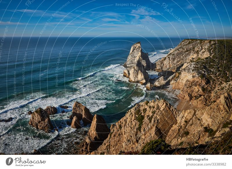 Portugal Umwelt Natur Landschaft Wasser Himmel Sonnenlicht Sommer Schönes Wetter Wellen Küste Seeufer Meer blau Freude Freiheit Gelassenheit träumen