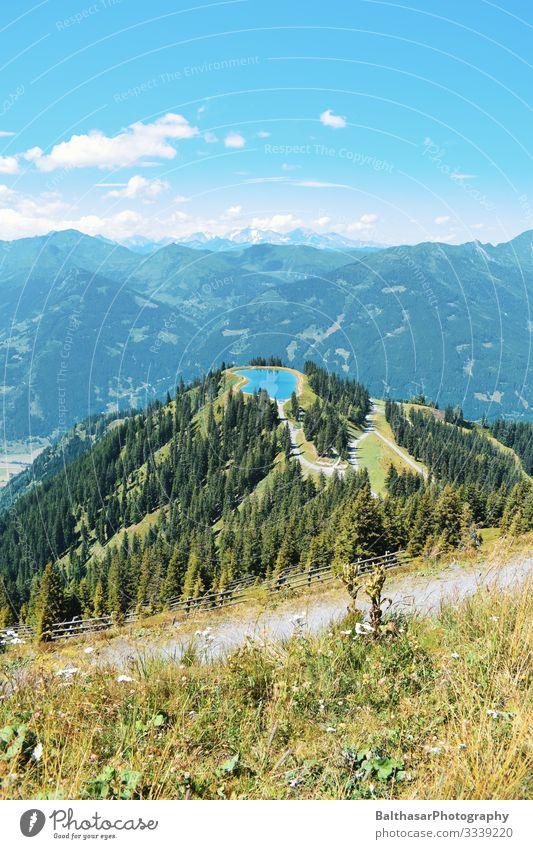 Bergpanorama mit See Österreich Berge u. Gebirge Panorama (Aussicht) Wald Himmel Blauer Himmel grün Wege & Pfade Horizont Blumen wandern Urlaub Urlaubsstimmung