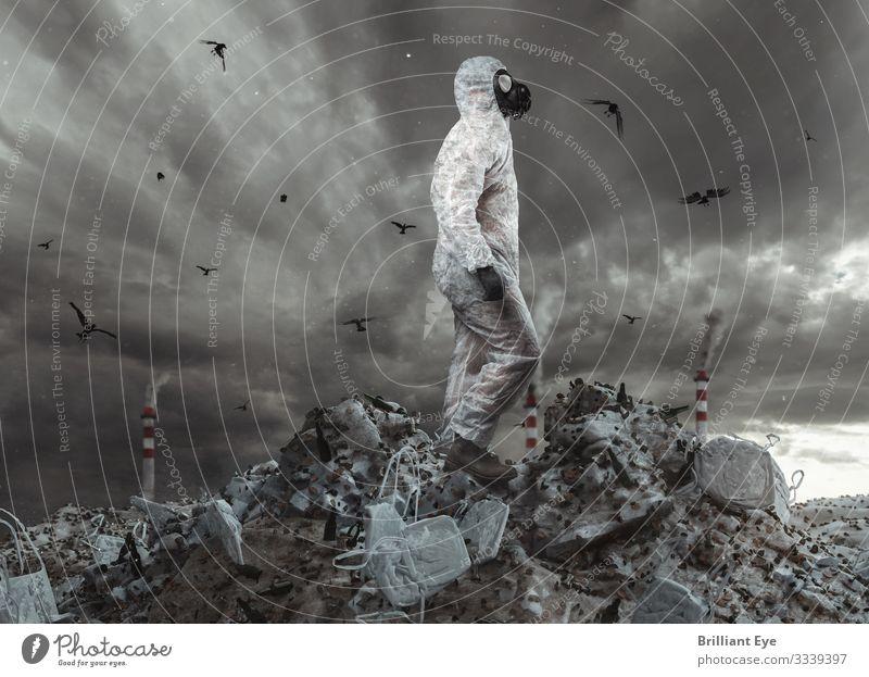 Untergangsszenario Mensch Einsamkeit Erwachsene Umwelt oben maskulin dreckig gefährlich Klima bedrohlich entdecken Zukunftsangst gruselig Müll Zerstörung