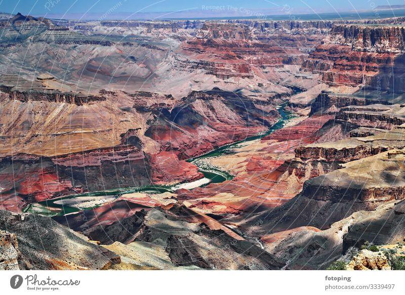 Grand Canyon schön Tourismus Ausflug Abenteuer Sommer Sonne Natur Landschaft Sand Luft Wolken Wetter Nebel Felsen Schlucht Wüste Sehenswürdigkeit Wahrzeichen