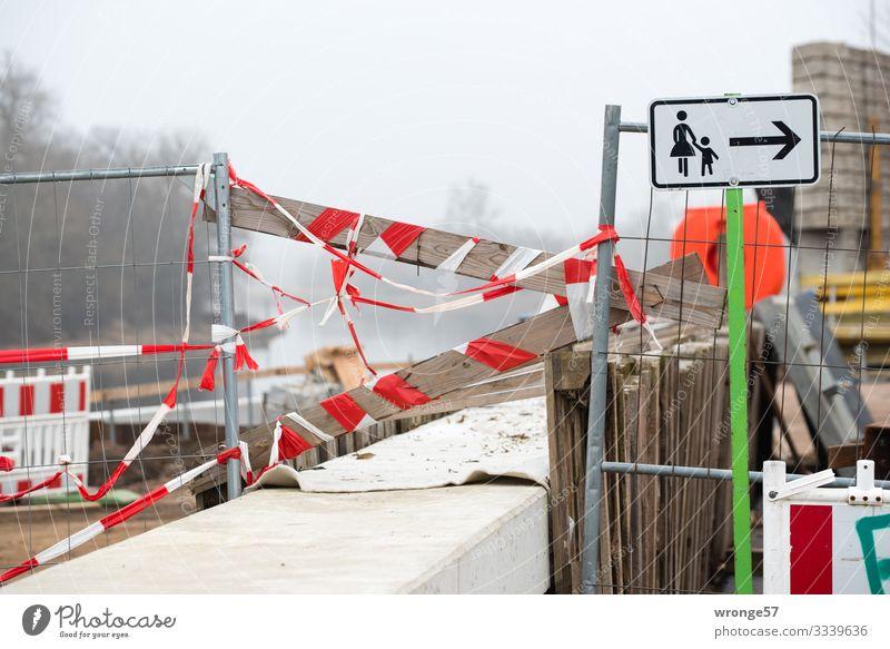 Durchgang versperrt Mauer Wand Fußweg Schilder & Markierungen Hinweisschild Warnschild Schnur Stadt braun grau rot weiß Bürgersteig Baustelle Barriere