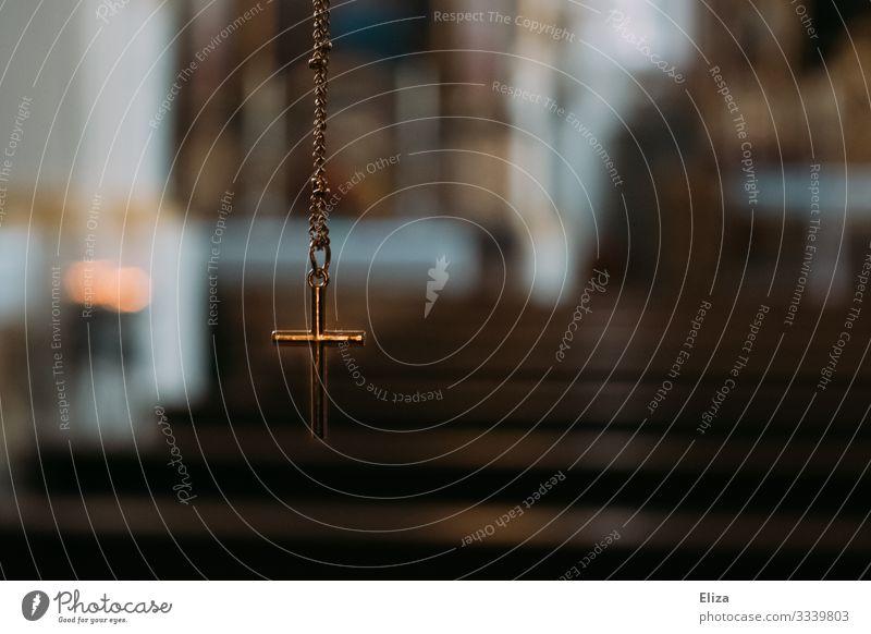 Kreuz in der Kirche Gold Hoffnung Glaube Religion & Glaube Christliches Kreuz Christentum Katholizismus Protestantismus Kette Halskette Schmuckanhänger Gebet