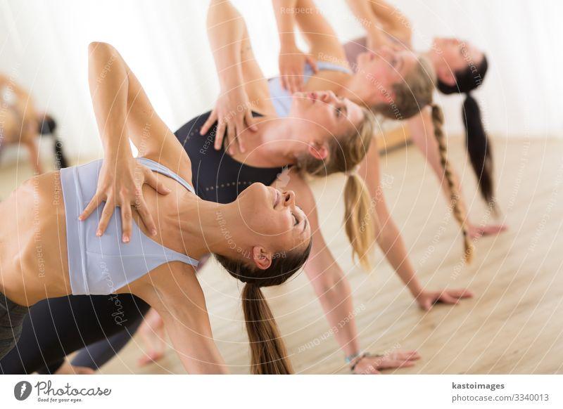 Junge, sportlich attraktive Frauen, die Yoga praktizieren. Lifestyle schön Körper Gesundheitswesen Wellness Erholung Meditation Tanzen Sport Mensch Erwachsene