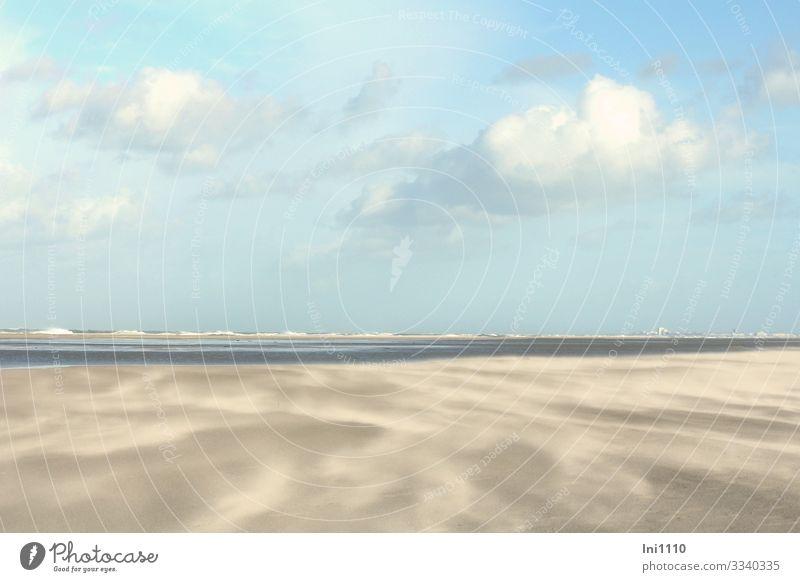 Sandverwehung am Strand auf Juist bei schönem Wetter mit Wolken und blauem Himmel Natur Landschaft Erde Wasser Horizont Herbst Schönes Wetter Küste Nordsee grau