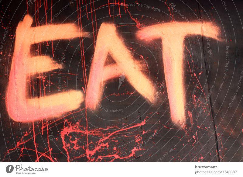 EAT Fassade Schriftzeichen Graffiti Stadt rosa Essen auffordern bemalt Farbfoto Außenaufnahme Menschenleer Textfreiraum rechts