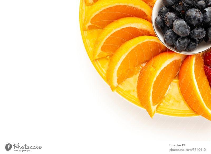 Sortiment von frischem Obst von oben gesehen Lebensmittel Gemüse Orange Ernährung Vegetarische Ernährung Diät Schalen & Schüsseln Gesunde Ernährung Banane