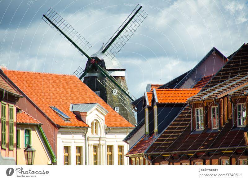 Stadtansicht mit Windmühle Sightseeing Architektur Himmel Wolken Sommer Schönes Wetter Müritz Stadtzentrum Haus Fassade authentisch historisch Kitsch Wärme