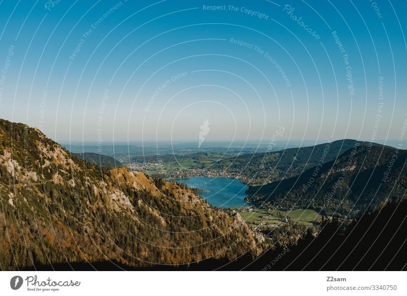 Schliersee vom Brecherspitz aus gesehen brecherspitze spitzing wandern panoroma berge natur bergsee wasser alpenvorland bayern aufstieg gebirge Aussicht
