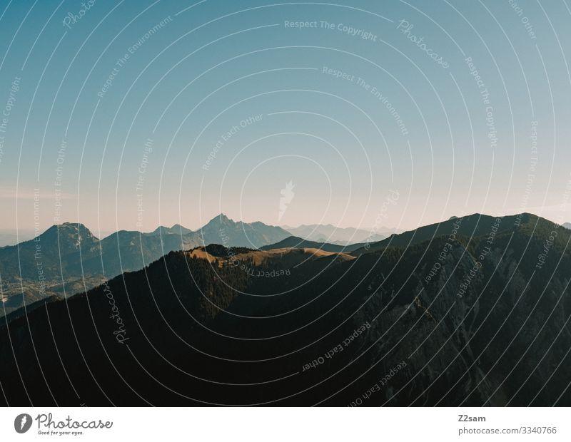Schliersee vom Brecherspitz aus gesehen brecherspitze spitzing wandern panoroma berge natur bayern alpen gebirge Aussicht landschaftsfoto warm herbst sonne