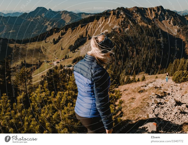Wandern auf dem Brecherspitz | Bayern brecherspitze wandern bayern gebirge alpen gipfel wald panorama gehen sportlich gebüsch warm herbst grün braun frau