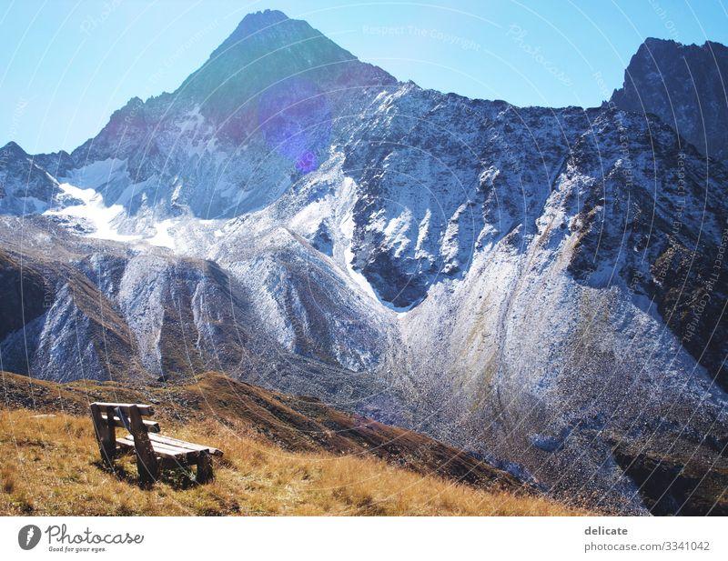Auszeit Ferien & Urlaub & Reisen Tourismus Ausflug Abenteuer Ferne Freiheit Berge u. Gebirge wandern Felsen Alpen Gipfel Schneebedeckte Gipfel Gletscher Bank