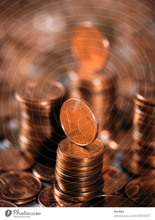 1-und 2 Eurocentmünzen Metall Schriftzeichen Ziffern & Zahlen Geld Cent Geldmünzen authentisch glänzend viele rot Endzeitstimmung Gesellschaft (Soziologie)