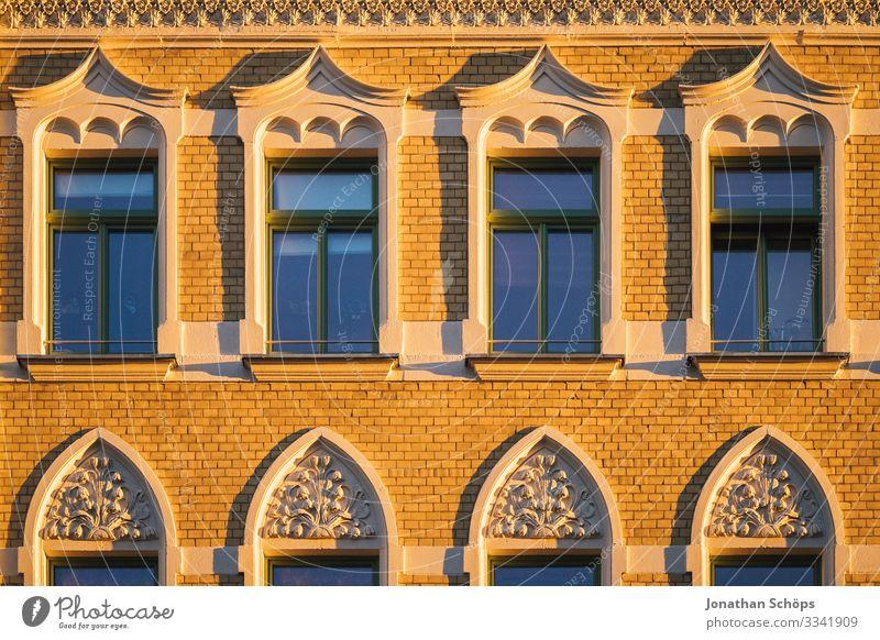 Abendsonne auf Hausfassade Chemnitz Deutschland Dämmerung Sachsen Fassade Fassaden Sonnenlicht Abendlicht Abendstimmung Wohnhaus Menschenleer Außenaufnahme