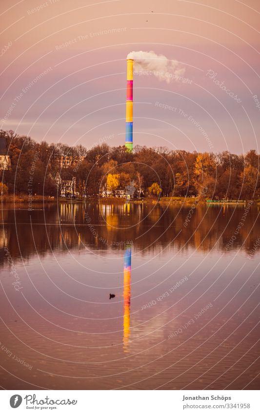 Braunkohle wird durch Farben nicht bunt Landschaft Umwelt Küste Deutschland See Seeufer Rauch Abenddämmerung Abgas Teich Sachsen Klimawandel Spiegelbild