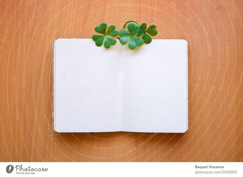 Offenes und leeres Notizbuch Büro Business Blatt Schreibwaren Papier schreiben braun grün weiß Klee Notebook Aushang blanko Beitrag Holz Grafik-Ressource