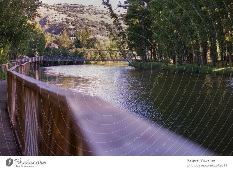 Eine Brücke, die den Fluss überquert Abenteuer Sommer Berge u. Gebirge Natur Landschaft Wasser Frühling Baum Sträucher Wald Teich See natürlich blau braun